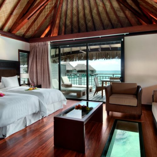 Overwater Bungalow Bedroom Hilton Moorea Lagoon Resort & Spa